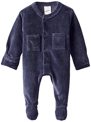 L'ovedbaby Unisex Baby Organic Cotton Velour Footed Overall, Navy, 0-3 Months (Footed Velour Coverall)
