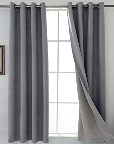SHIELD CREATOR 100% Blackout Curtains Full Light Blocking Suede Curtain Triple Weave Grommet 50X63 Inch Long Thermal Insulated Window Drapes for Bedroom/Nursery/Patio Door/Living Room,2 Panels,Grey