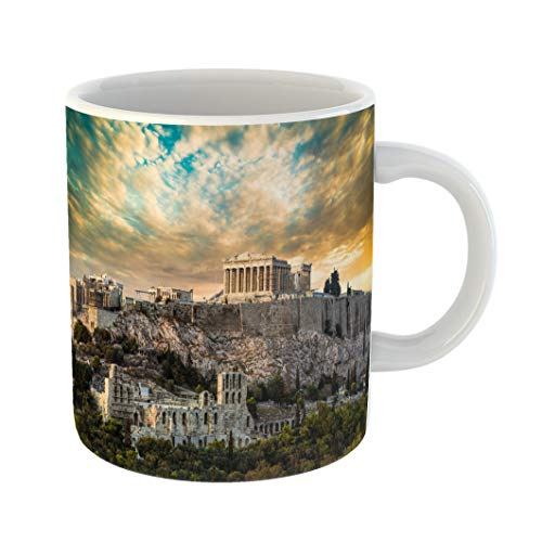 Emvency Coffee Tea Mug Gift 11 Ounces Funny Ceramic Parthenon Acropolis of Athens Under Dramatic Sunset Sky Greece Gifts For Family Friends Coworkers Boss -