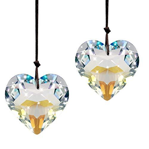 (SunAngel Crystal Heart Prisms Pendants & Chandelier Suncatchers Prisms Hanging Ornament Prisms Rainbow Crystal Pendants (2pcs Heart)