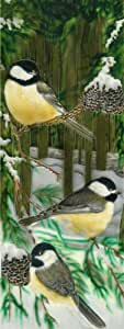 Continental Art Center KD-088 6 by 16-Inch Chicadee In Forest Ceramic Art Tile