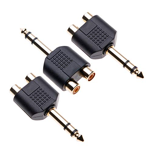 6.35mm to 2X RCA Adapter by Keple, TRS Stereo Jack Male to Double Phono Connector, 1/4 Inch Headphone Port to Two Phonos, Gold Plated Audio Y Splitter (3 Pack)