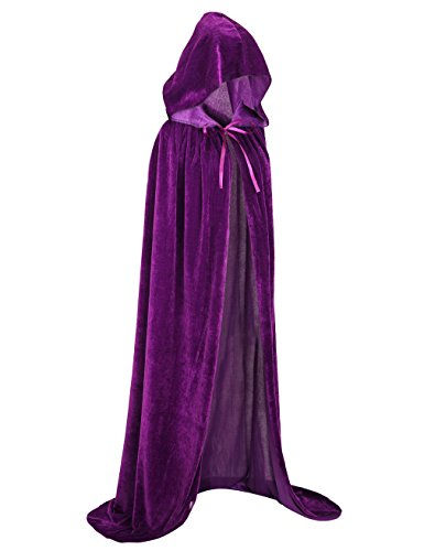 Cloak Cape Velvet (Hamour Unisex Velvet Halloween Cape Full Length Hooded Cloak Adult Costume, 59