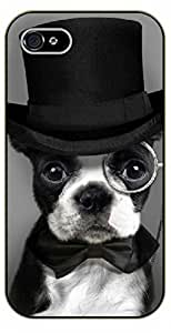 iPhone 5 / 5s Hipster dog with hat, glasses and tie. Like a sir. - black plastic case / dog, animals, dogs by icecream design