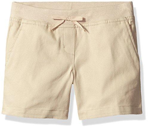 (Dockers Little Girls' Uniform Twill Flat Front Short with Knit Waistband, Khaki, 6)