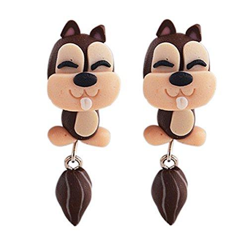 Super Cute 3D Gopher Fun Costume Stud Earrings - Polymer clay Cartoon - Women girls Gopher (Gopher Jewelry Pendant)
