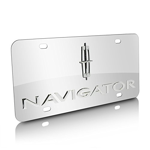 Lincoln Navigator Chrome Logo + Name On Polished Chrome License Plate