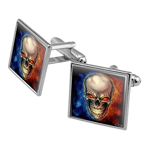 Graphics and More Skull Blue Red Flaming Glowing Eyes Square Cufflink Set Silver Color