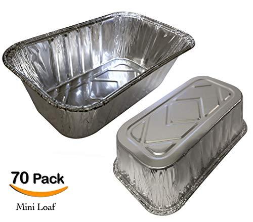 """70 Pack – 1LB Sturdy Mini Loaf Pans, Foil Loaf Pans, Bread Pans l Cake Pan, Disposable Aluminum Pans l Top bakery's choice Foil Pans - 1 Pound - 6'' X 3.5"""" x 2"""""""