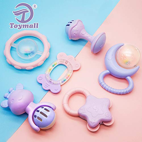 Baby Rattle Teether Toys for 6 9 12 18 Month Old Toymall Natural Rubber Activity Molar Toy Ball Shaker and Musical Sounds Play Gift Set for Newborn Boy Girl Kids 6 Pcs and 1 Storage Case by Toymall (Image #7)