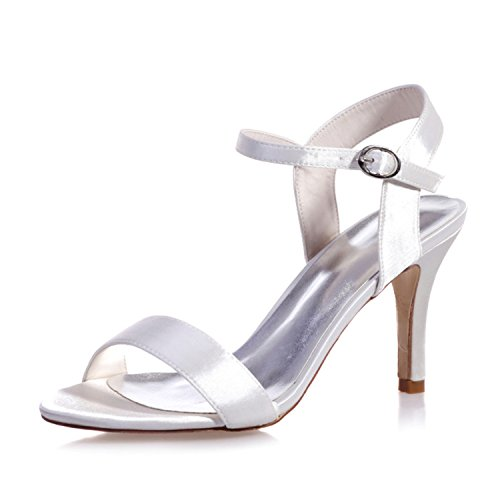 Clearbridal Women's Satin Wedding Bridal Shoes Open Toe Sandal for Evening Prom Party High Heel ZXF9920-03 White 5Kva3