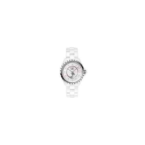 Chanel J12 Blanco Cerámica con Diamantes marcadores 36,5 mm h4345