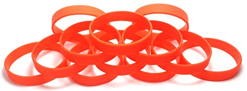 TheAwristocrat 1 Dozen Multi-Pack Wristbands Bracelets Silicone Rubber, Select from a Variety of Colors, Adult, 202 mm, Orange
