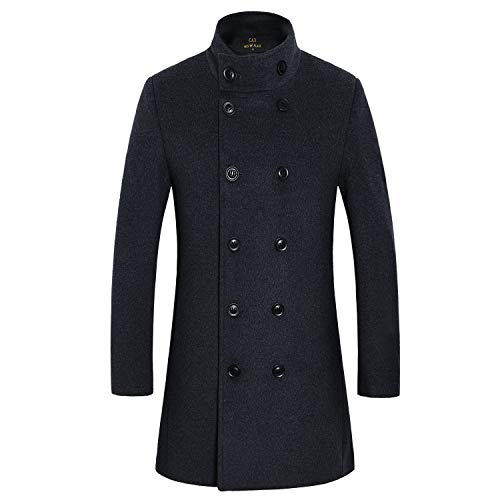 Men's Premium Wool Blend Double Breasted Long Pea Coat (Grey 2, Medium) - Double Breasted Cashmere