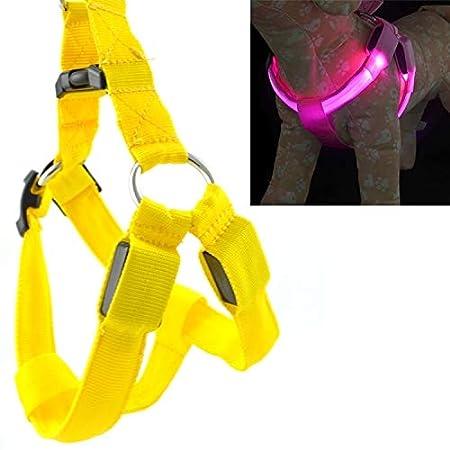 Correa de mascota Doble cara correa del pecho del perro de luz LED ...