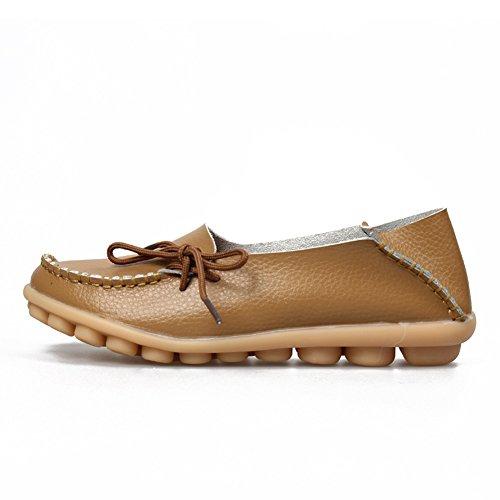 KEESKY Damen Leder Loafers Aushöhlen Casual Slip On Driving Schuhe 03 Licht Brwon