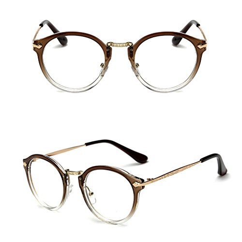 Doober Vintage Men Women Eyeglass Round Frame Clear Full Rim Spectacles Eyewear Optical (Coffee, 4.8)