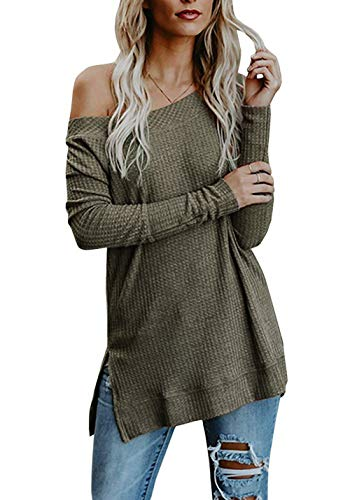 (HMei Women's Sweaters Off The Shoulder Casual Long Sleeve Knit Pullover Tunic Tops (Army Green, XL))
