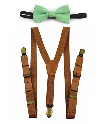 Leather Suspenders, Toddler Boys Ring Bearer Wedding Outfit Suspenders and Bow (Brown Leather Suspenders and Mint Green Bow)