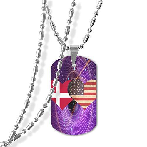 Denmark Flag And American Flag Tag Pendants -