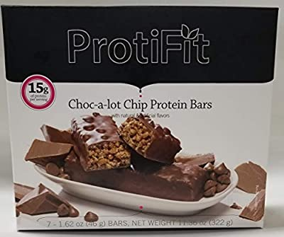 Proti Fit Protein Bar - Choc-a-lot chip - 15g - Low Carb - Low Calorie - Weight Loss Snack Bar for Healthy Diets, Hunger Control, Appetite Suppressant,7 Count (1.62 OZ NET Weight 11.63OZ)