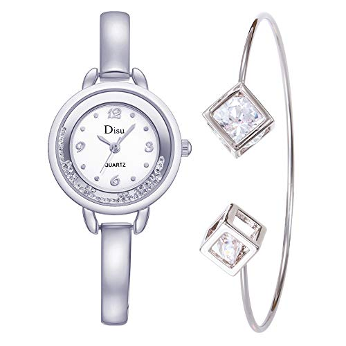 Accented Tall Fashion - Women's Wristwatch & Bangle Set, Simple Crystal Watch Accented Tone Bracelet Jewelry for Ladies by Bravetoshop(Silver, 1 Set of 2)