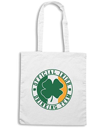 T-Shirtshock - Bolsa para la compra TIR0161 official irish drinking team white tshirt Blanco