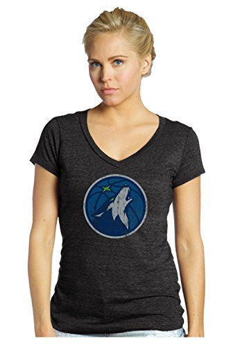 fan products of NBA Minnesota Timberwolves Women's Premier Triblend Modest V-Neck Tee, Large, Black