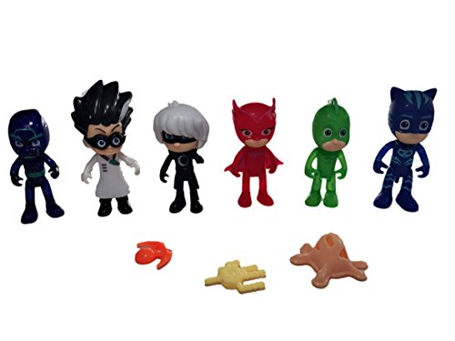 Abbros PJ Masks Action Mini Figures Play Set Birthday Party Supplies Bundle 5 Pack - 3 inch (Party Supplies Ville)
