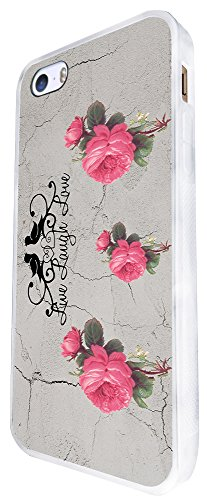 582 - Floral Shabby Chic Roses Live Love Laugh Design iphone SE - 2016 Coque Fashion Trend Case Coque Protection Cover plastique et métal - Blanc