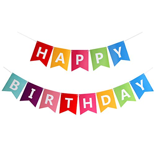 Happy Birthday Banner Stylish Colorful Birthday Bunting Decorations and Party (Happy Birthday Party Banner)