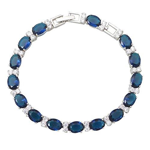 Bangles Bracelets Deep Blue Cubic Zirconia Fashion Jewelry Bangles for Female 19.5cm 7.67inch B094