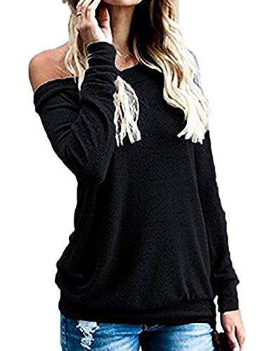 (Off Shoulder Tunic Tops for Women Long Sleeve Banded Hem (M, Black))