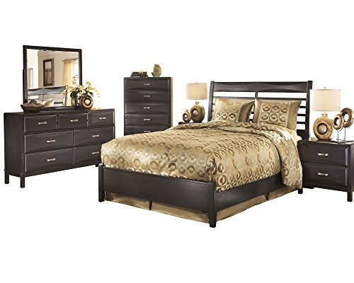 Ashley Kira 6PC Bedroom Set Queen Panel Bed Dresser Mirror Two Nightstand Chest in Almost Black