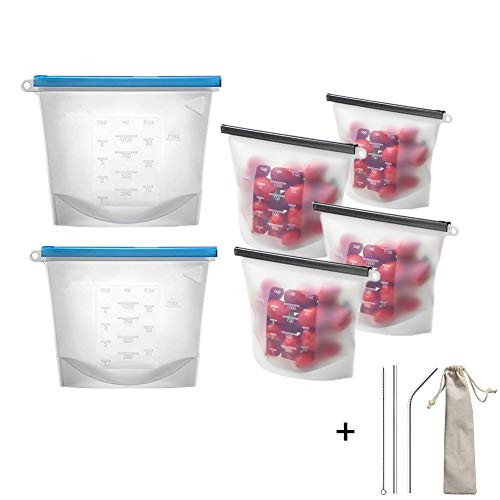 Silicone Food Storage Bag,Reusable Food Storage Bags Set of 6 with Bonus Stainless Steel Straws Insulated Lunch Bag for Sandwich Kids Snack, Safe to Use in Dishwasher Microwave and Freezer