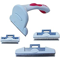 """Pet World Care grooming De-shedding tool/Rake/Comb handle with 3 combs 2"""",3"""" & 4"""" sizes ideal for Dog,Cat,Rabbit,Horse and pony. Removes malting hair and fur.Alternative to a brush or rake."""