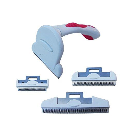 Pet World Care grooming De-shedding tool/Rake/Comb handle with 3 combs 2