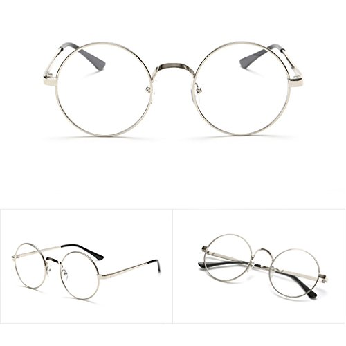 YingNeng Vintage Oval Eyeglass Frame Plain Glass Clear Full-Rim Spectacles - - Steampunk Spectacles