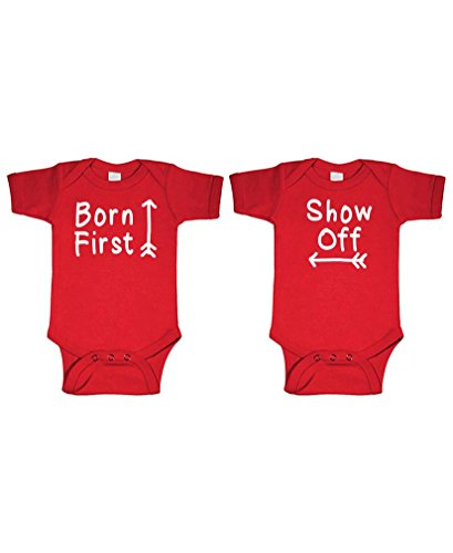 Born First - Show Off! - Twins Siblings - Two Infant Bodysuit Combo, 24m, Red