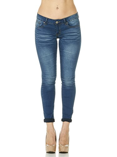 Cover Girl Women's Skinny Cuffed Stone Whisker Wash 29 Inseam, Cop Blue, 9 (Sexy Ultra Low Rise Jeans)