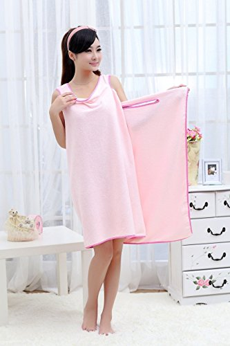 UDTEE 1Pcs Wearable/Deluxe 3-Hole Plush and Cotton Bathing/Shower Towel for Adults,Pink