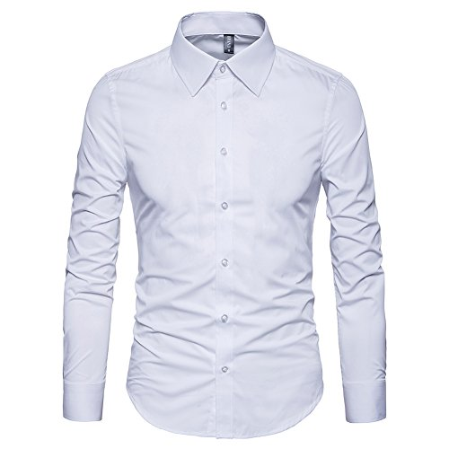 Manwan walk Men's Slim Fit Business Casual Cotton Long Sleeves Solid Button Down Dress Shirts (Large, ()