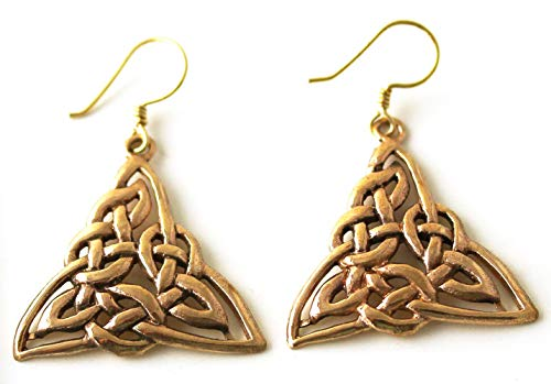 LynnAround Bronze Filigree Celtic Triquetra Trinity Knot Triangle Earrings Drop Dangle Fish Hook Vintage Jewelry
