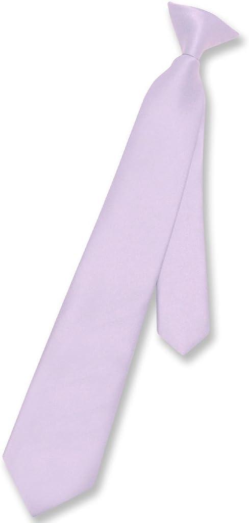 Vesuvio Napoli Boy's CLIP-ON NeckTie Solid Lavender Purple Color Youth Neck Tie