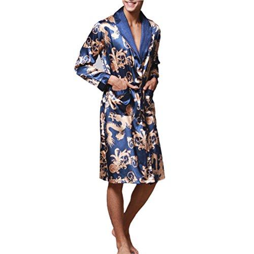 Zhhlaixing Lovers Comfortable Long sleeves Pajamas Nightgown Silk Sleepwear Royal Blue