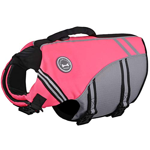 VIVAGLORY New Sports Style Ripstop Dog Life Jacket with Superior Buoyancy & Rescue Handle, Bright Pink, L