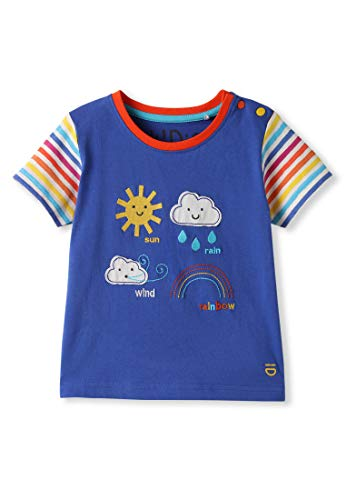 kIDio Organic Cotton Applique Baby Infant Toddler T-Shirt - Blue Boy Girl Tee - Short Sleeve [3M (0-3 Months)]