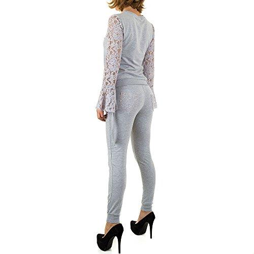 Spitzen Zweiteiler Anzug Für Damen , Grau In Gr. L bei Ital-Design