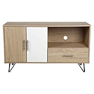 Vogue TV Stand with Storage for 65 inch TV - Beige & White (H 120 cm x W 69 cm x D 45 cm)