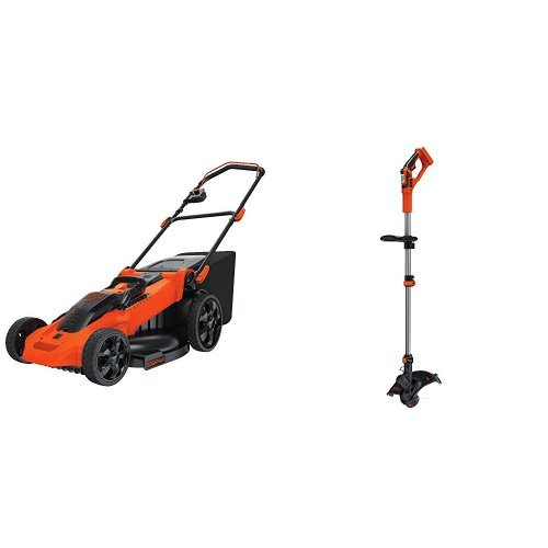 BLACK+DECKER CM2040 40V Lithium 3-in-1 Cordless Mower + Compatible LST136B String Trimmer Bare Tool Bundle